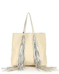 Everyday metallic fringed leather shopper tote medium 523606