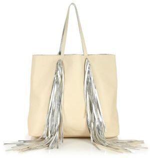 36833c222b3 Sara Battaglia Everyday Metallic Fringed Leather Shopper Tote, $950 ...