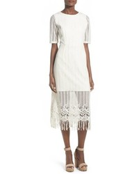 White Fringe Midi Dress