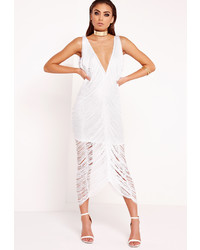 fe438543a8c ... Missguided Fringe Midi Dress White