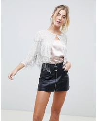 Miss Selfridge Premium Cape Jacket With Beaded Fringe Detail In White