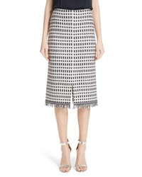 St. John Collection Thatched Grid Knit Skirt