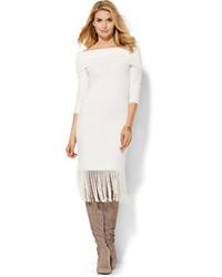 White Fringe Sheath Dress