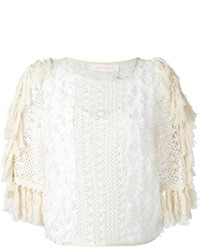 See by Chloe See By Chlo Fringed Open Knit Top