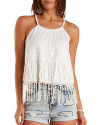 Charlotte Russe Embroidered Mesh Fringe Tank Top