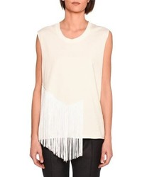 Muscle tank with fringe trim ivory medium 3746031