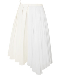 Maggie Marilyn Safe In Your Arms Pleated Cotton Blend Poplin And Crepe Wrap Effect Skirt
