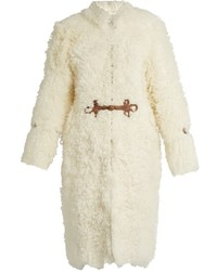 Roberto Cavalli Leather Embellished Shearling Coat