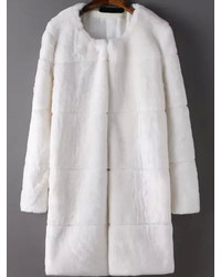 Long Sleeve Faux Fur White Coat