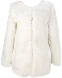 Choies Longline Faux Fur Coat In White