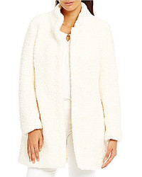 Ivanka Trump Mandarin Collar Faux Fur Coat