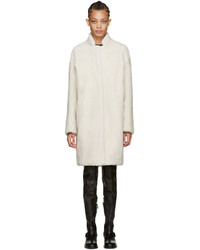 Meteo by yves salomon off white shearling coat medium 972215