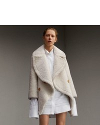 Burberry Oversize Collar Teddy Shearling Pea Coat