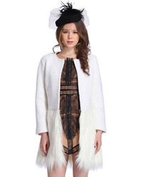 Panel Faux Furry White Coat