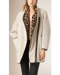 Burberry Prorsum Shearling And Fur Coat With Detachable Warmer