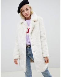 Glamorous Relaxed Longline Coat In Faux Fur