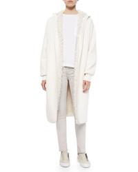 Helmut Lang Reversible Faux Fur Lined Long Coat