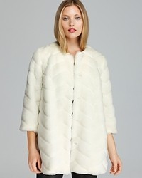 Sam Edelman Coat Luci Chevron Faux Fur