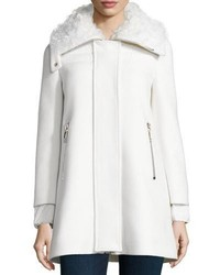 Calipso wool blend coat wfur collar ivory medium 6793079