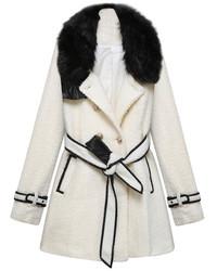 ChicNova Fur Collar Lace Up Woolen Coat