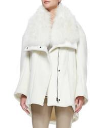 Helmut Lang Inclusion Fur Collar Felt Coat