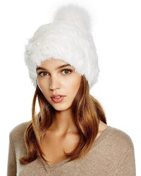 Surell Rabbit Fur Hat With Fox Fur Pom Pom