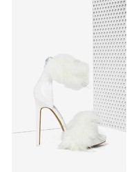 White Fur Heeled Sandals