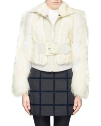 Nobrand Detachable Raccoon Sleeve Lamb Shearling Jacket