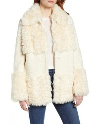 Kensie Faux Fur Patchwork Coat