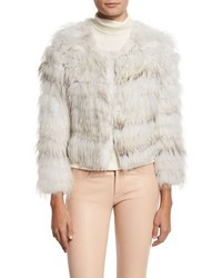 Alice + Olivia Fawn Rabbit Fox Fur Bomber Jacket Graywhite
