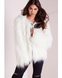 Missguided Mongolian Faux Fur Coat White