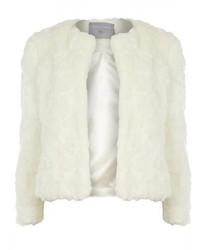 Petite Ivory Short Faux Fur Jacket