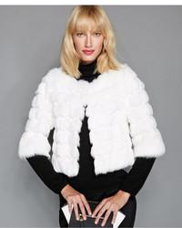 The Fur Vault Rabbit Fur Scalloped Trim Cropped Jacket