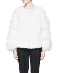 Nobrand Suede Stripe Raccoon Sleeve Mink Fur Jacket