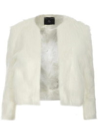 White Short Faux Fur Coat