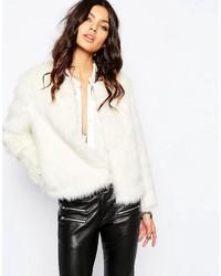 Mango Winter White Faux Fur 70s Glam Coat