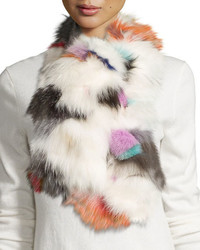 Pologeorgis Fox Fur Scarf Whitemulticolor