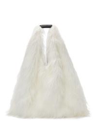MM6 MAISON MARGIELA White Faux Fur Shopping Tote