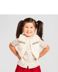 Genuine Kids From Oshkosh Toddler Girls Fur Trim Vest Genuine Kidsfrom Oshkosh White