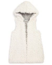 Splendid Girls Reversible Faux Shearling Hooded Vest Sizes 2 6x