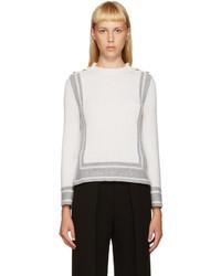 White Geometric Crew-neck Sweater