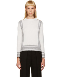 Alexander McQueen Ivory Grey Geometric Sweater