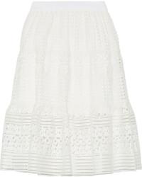 Diane von Furstenberg Tiana Guipure Lace Skirt White