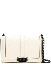 White Geometric Leather Crossbody Bag