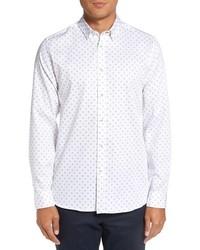 White Geometric Long Sleeve Shirt
