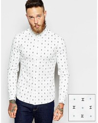 Asos Shirt In Skinny Fit With Geo Print And Long Sleeves