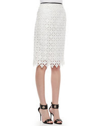 White Geometric Pencil Skirt