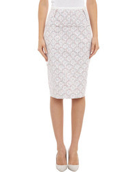 Nina Ricci Bonded Lace Floral Print Pencil Skirt