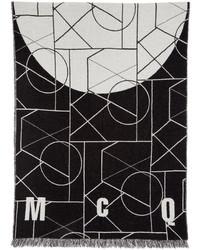 McQ Alexander Ueen Black Off White Geometric Scarf