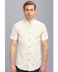 White Geometric Short Sleeve Shirt